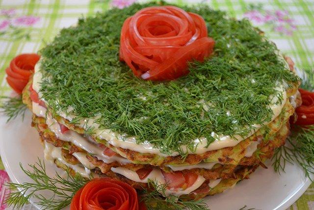 Торт закуска из кабачков (5 рецептов)